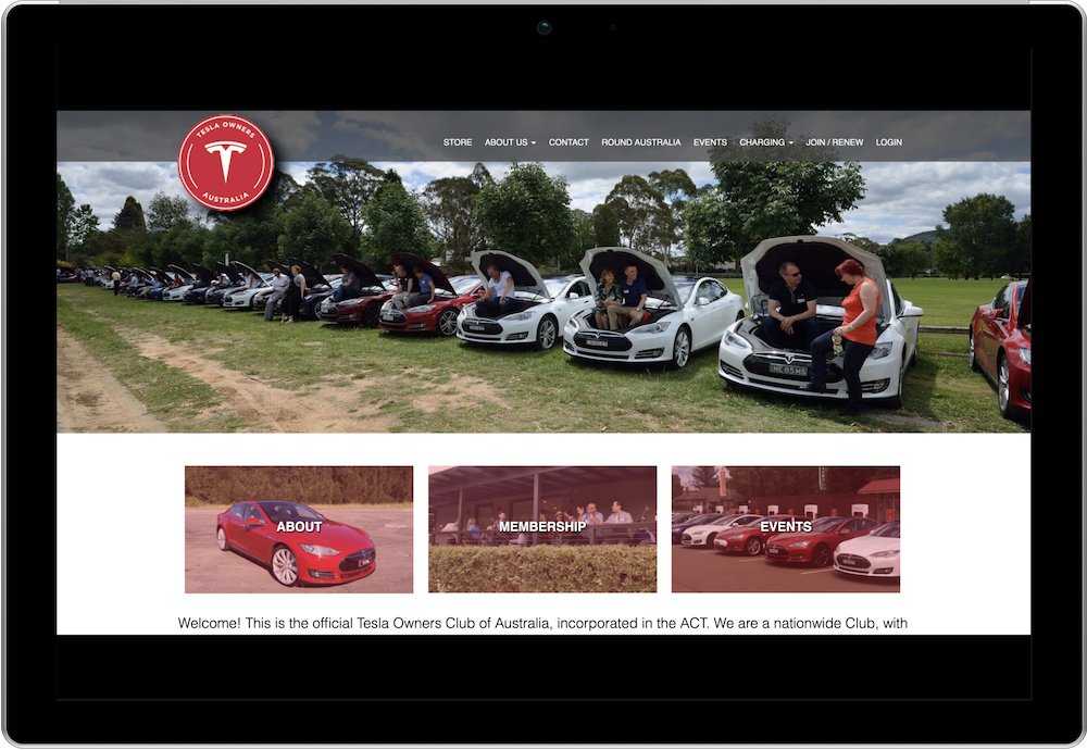 Tesla Owners Group Australia Membership Management Website