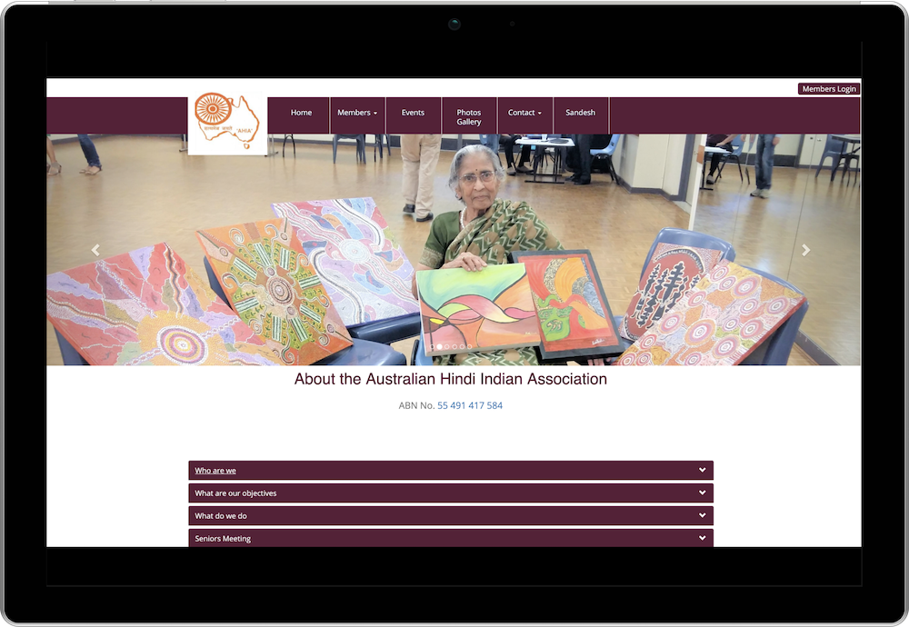 Australian Hindi Indian Association Membership Management Website