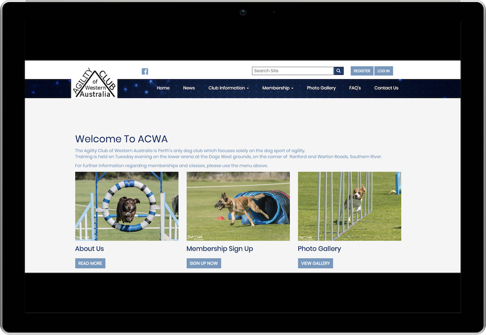 The Agility Club of Western Australia Membership and Events Management Website