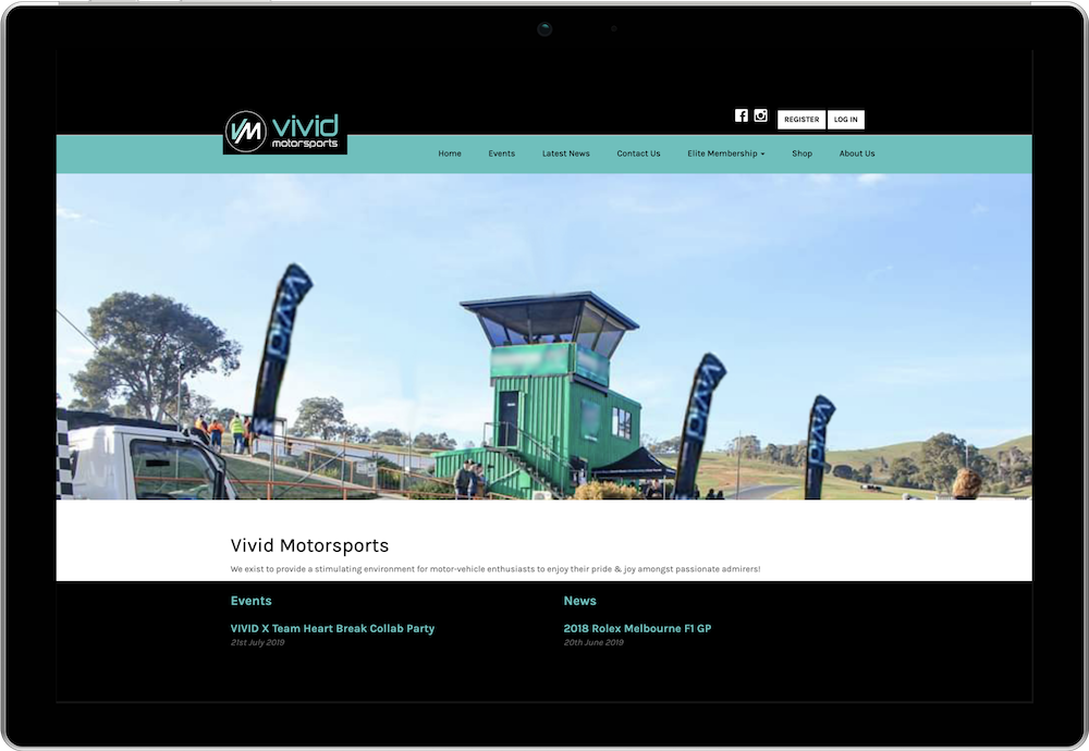 Vivid Motorsports Membership and Events Website