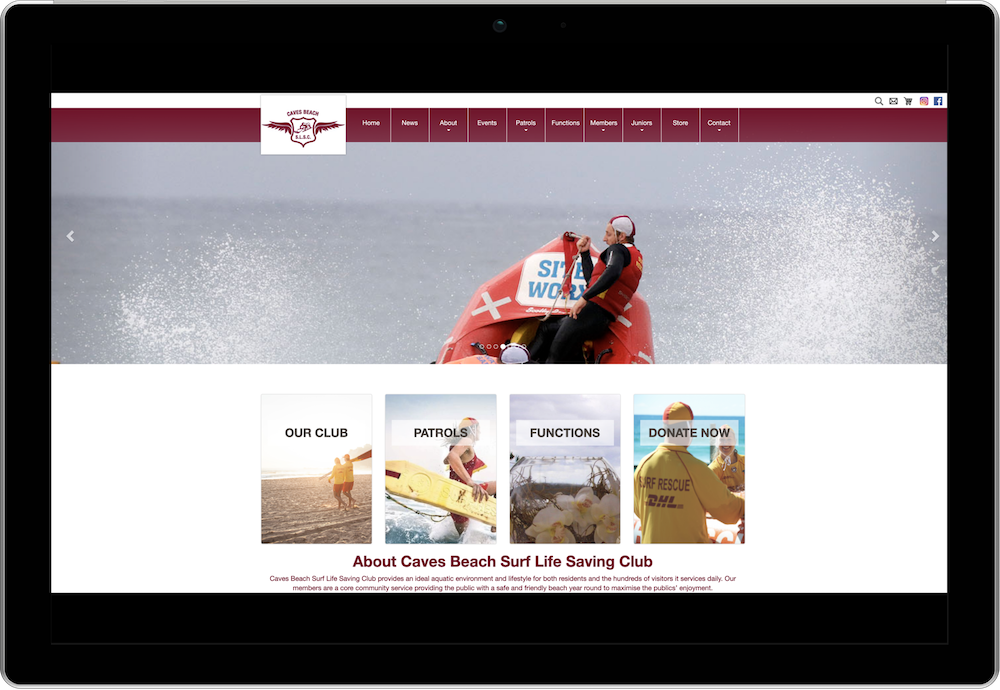 Caves Beach Surf Life Saving Club Membership Website