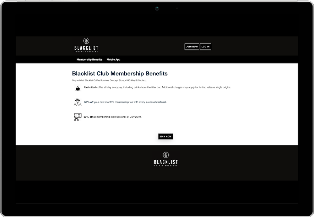 Blacklist Coffee Club Membership Website